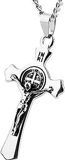 Religion Stainless Steel Saint St St. Benedict Crucifix Cross Pendants Necklace INRI