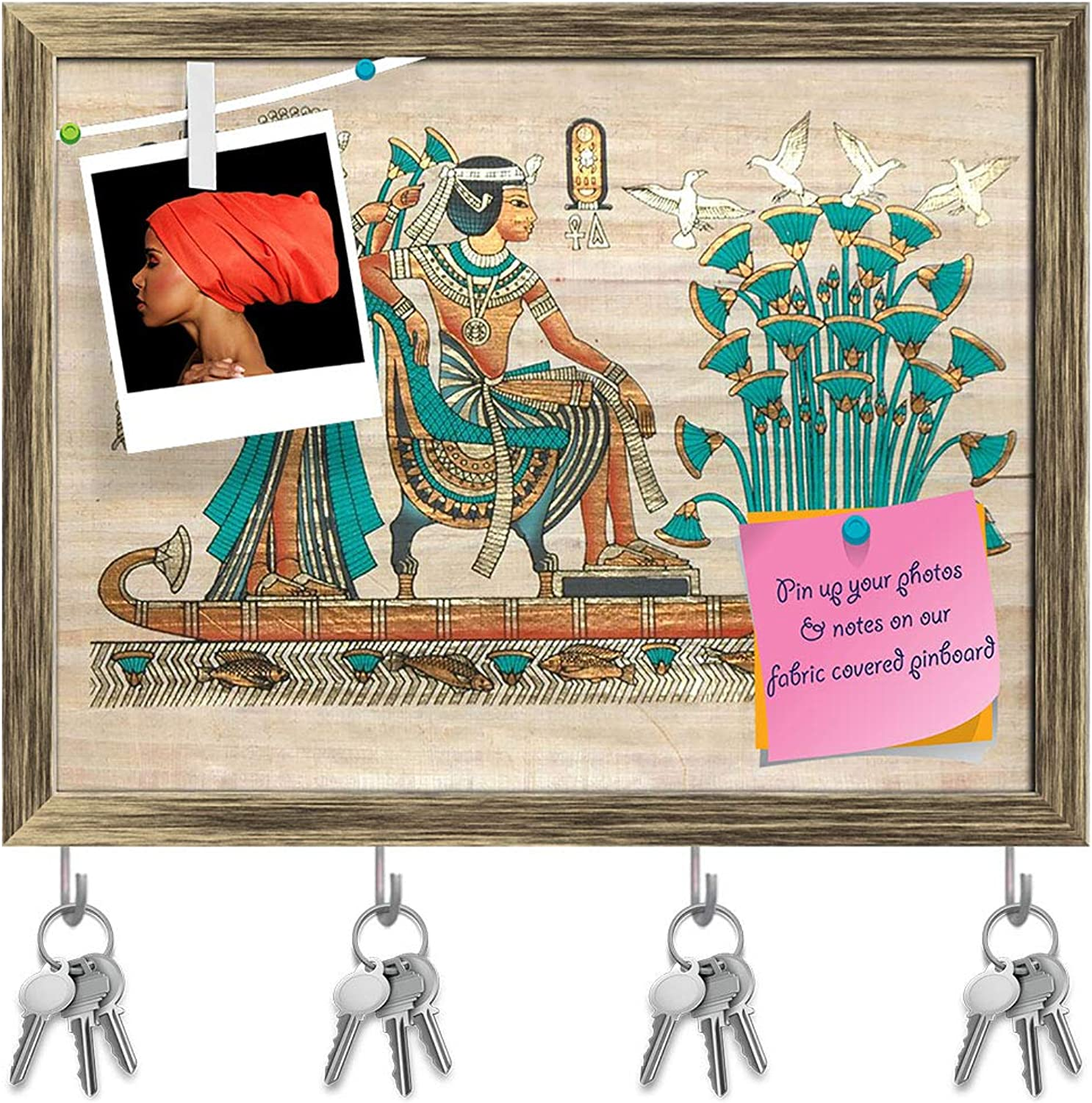 Artzfolio Papyrus from Egypt D2 Key Holder Hooks   Notice Pin Board   Antique golden Frame 15.7 X 12Inch