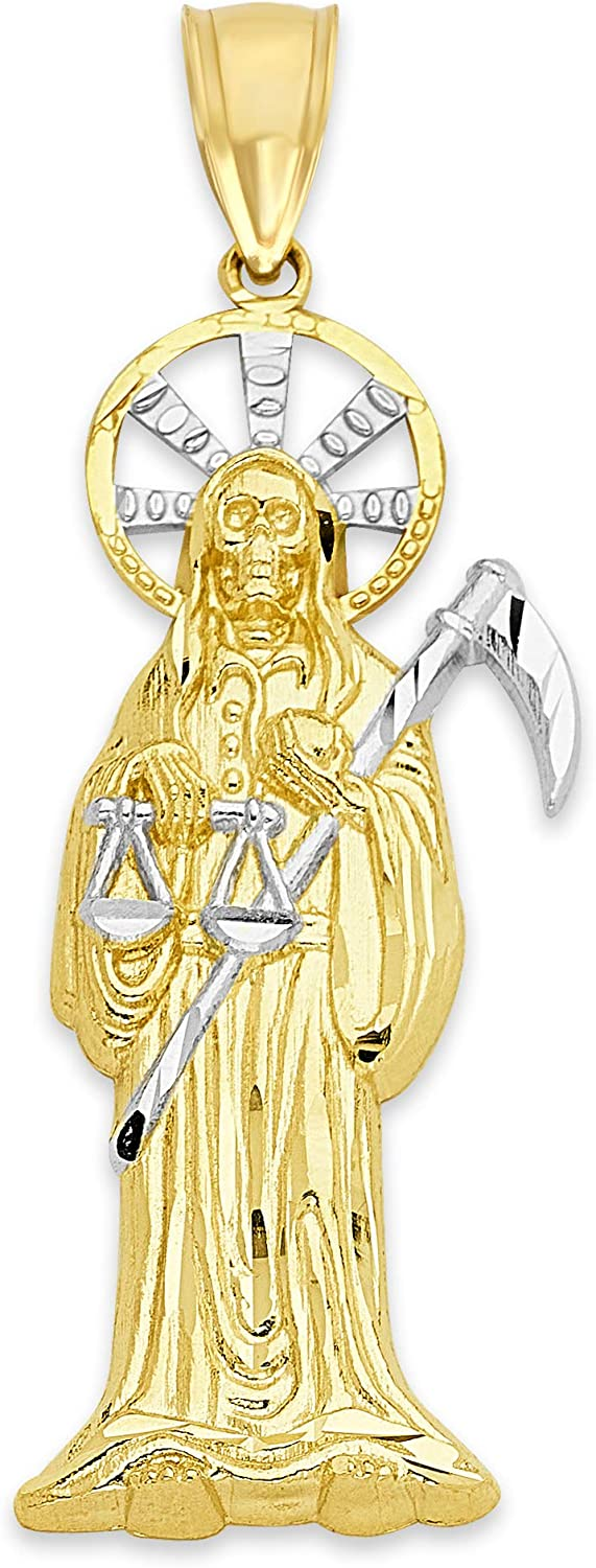 10k Real Solid Gold Santa Muerte Pendant, Two-Tone Grim Reaper Jewelry, Saint Death Gifts for Her