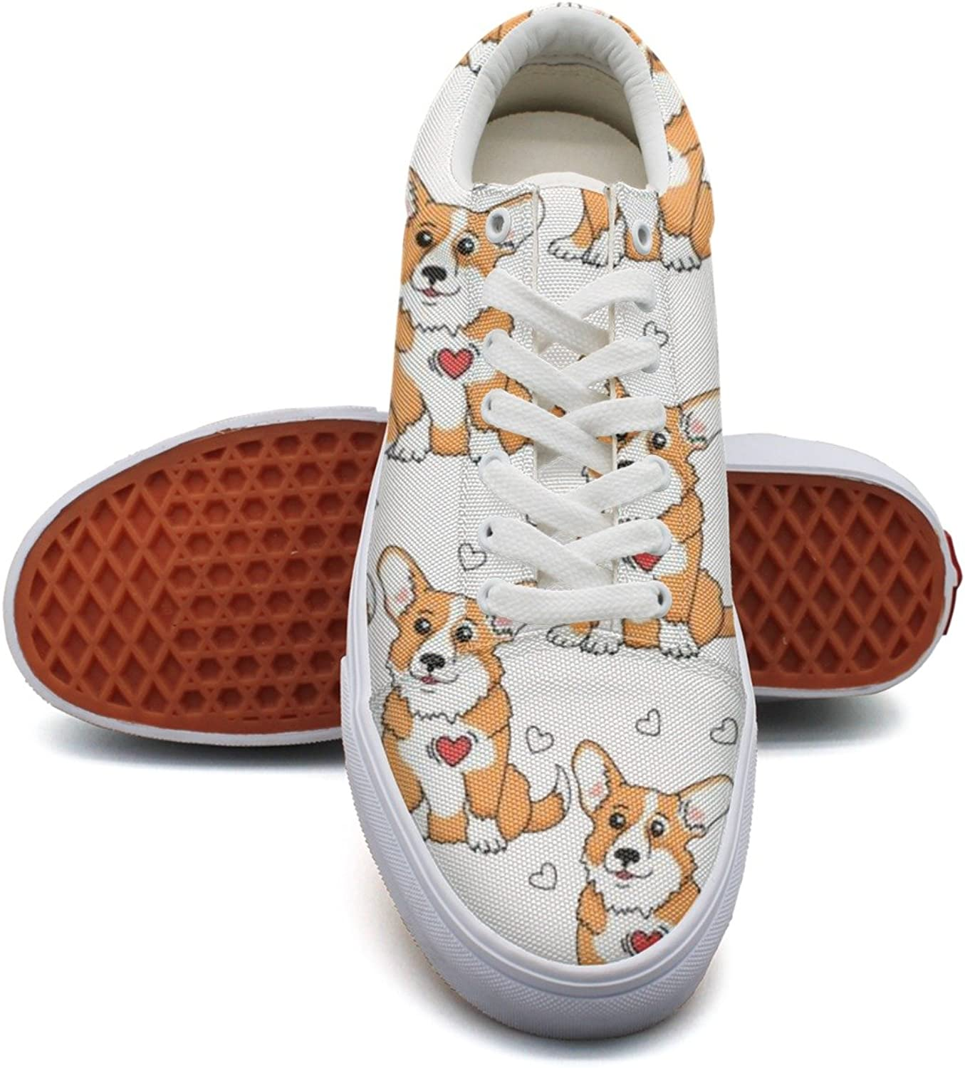 Puppy Welsh Corgi And Heart Fashion Canvas Sneakers For Womns 3D Printed Low Top Canvas shoes
