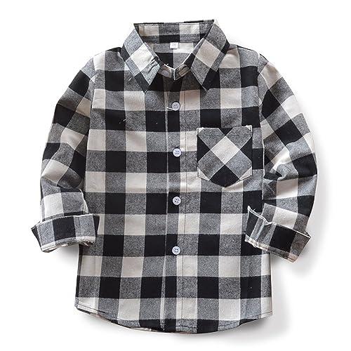 bdab3f67b OCHENTA Little Big Boys' Long Sleeve Button Down Plaid Flannel Shirt