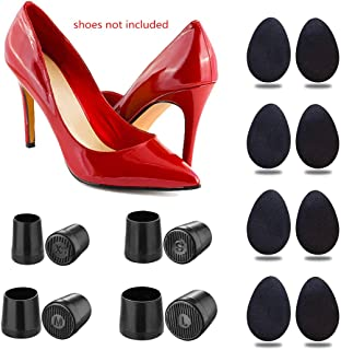 ifory 8 Pcs Heel Repair Caps Heel Covers for High Heel Shoes & 8 Pcs Rubber Non-Slip Shoe Grip Pads Self-Adhesive High Heels Sticker, Anti-Slip and Reduce Noise