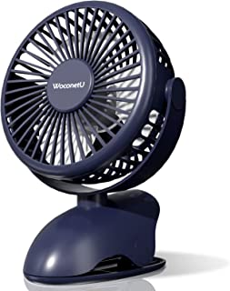 Clip-on Fan, WoconetU Portable USB Golf Cart Desk Stroller Fan with 5000mAh 5-Inch Rechargeable Battery Operated, 4 Speed...