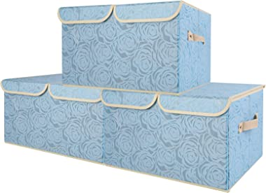 Lucky Monet 3 Pack Rose Pattern Storage Bins with Double Lids and Handles Large Foldable Fabric Organizer Cubes Storage Baske