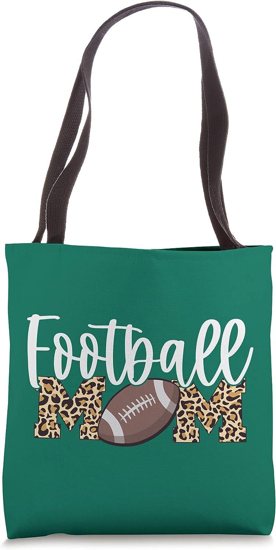 Football Mom - Leopard Print - Green Tote Bag