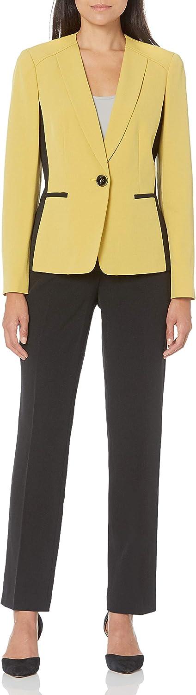 Le Suit Women's 1 Button Collarless Color Block Stretch Crepe Slim Pant Suit