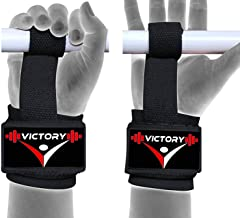 VICTORY Power Weight Lifting Bar Straps with Wrist Support Wraps Black