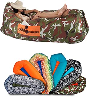 Chillbo Shwaggins Inflatable Couch – Cool Inflatable Chair. Upgrade Your Camping Accessories. Easy Setup is Perfect for Hiking Gear, Beach Chair and Music Festivals for Guys and Gals