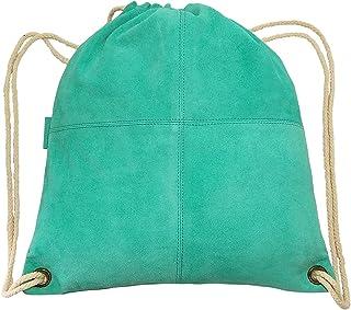 MANDAVA Suede Leather Drawstring Backpack Unisex Sack Cinch School/College/Gym Bag
