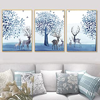 GDZS Home Decor Artwork Pictures Frame HD Printed 3 Piece Canvas Wall Art Elk, Nordic Style Interior Decoration Painting for Living Room Wall Decor (xyz),16