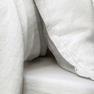 Tradition des Vosges Drap-Housse Uni Lin Lavé 160 x 200 cm Bonnet de 27 cm Blanc