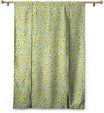 Kitchen Curtains and Valances Garden Art Window Blind Fabric Curtain Drapery Blossoming Spring Flora in Green Shades Ditsy St