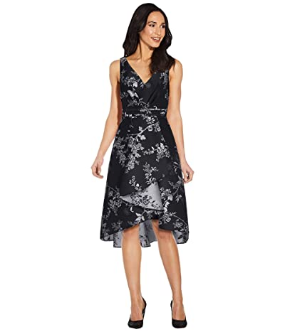 Adrianna Papell Pleated Bodice Wrap High-Low Jacquard Dress Women