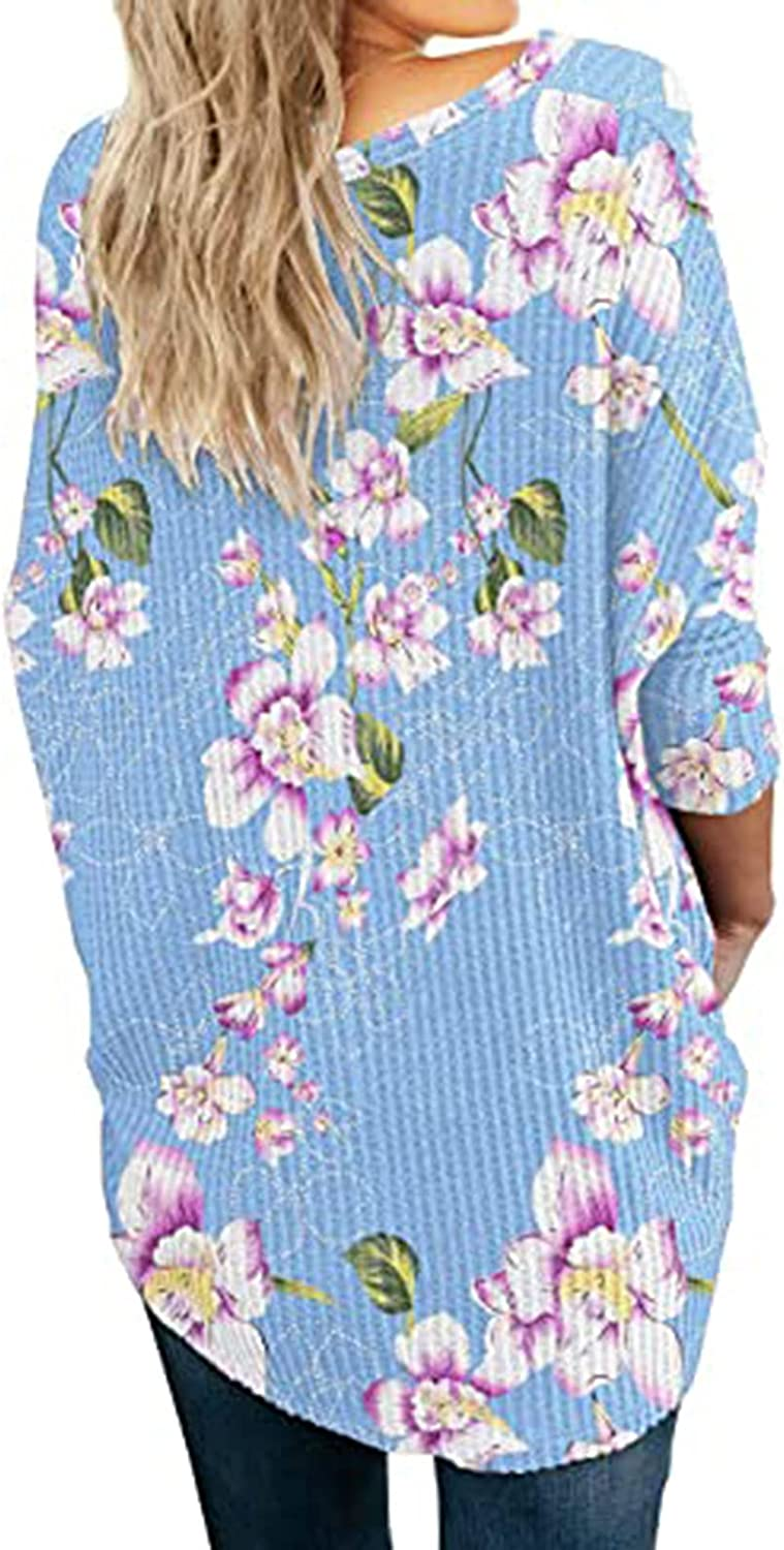 Women Waffle Pullover Tunics V-Neck Solid Knit Long-Sleeve Shirt Stitching Tops Blouse