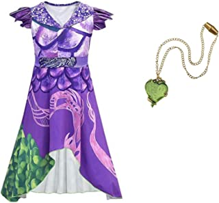 Dragon Mal Dress Costume and Necklace Size 7/8 Purple