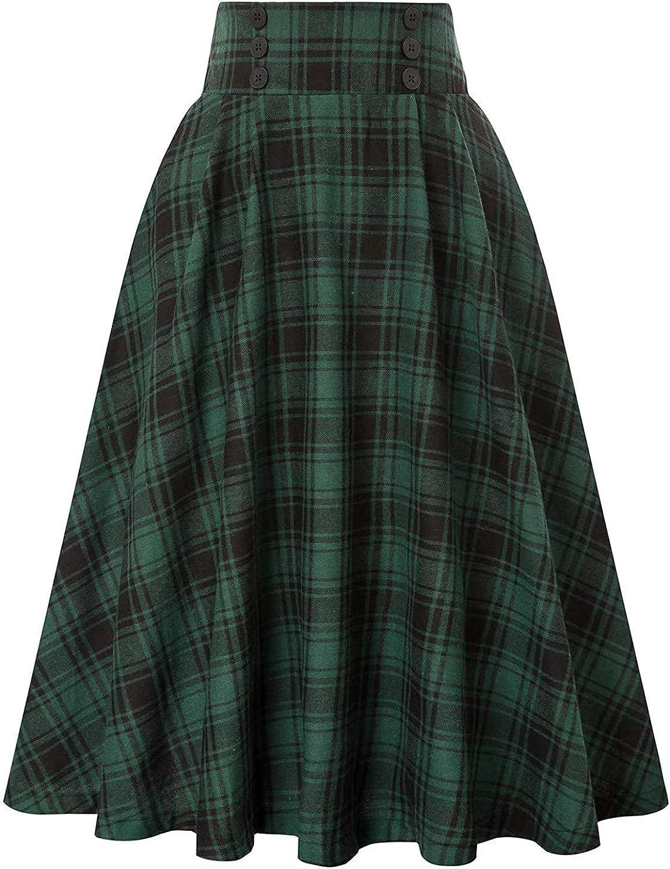 Skirt for Women Casual Plaid Skirt Vintage High Waist Pleated Skirt
