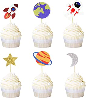 Ercadio 36 Pack Space Astronaut Cupcake Toppers Rocket Planet Trip to the Moon Cupcake Picks Baby Shower Boys Girls Birthd...