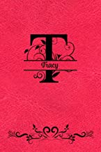 Split Letter Personalized Journal - Tracy: Elegant Flourish Capital Letter on Red Leather Look Background