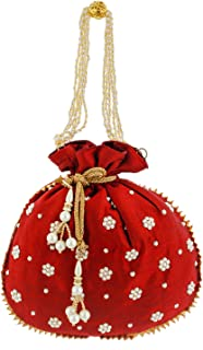 Heart Home Ethnic Clutch Silk Potli Batwa Pouch Bag with Beadwork Gift for Women (Maroon) - CTHH13639