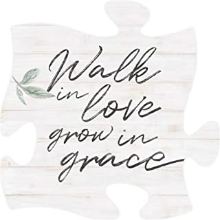 P. Graham Dunn Walk in Love Grow in Grace White 12 x 12 Wood Decorative Puzzle Piece Plaque
