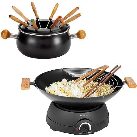 Set à fondue électrique wok électrique avec couvercle en verre (Wok électrique, poêle électrique, poêle électrique, thermostat, 8 personnes)