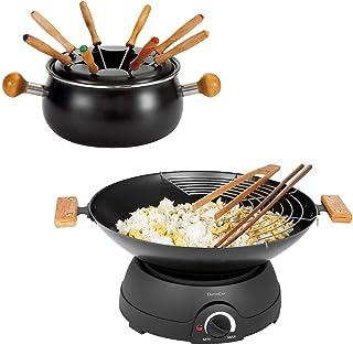 Set à fondue électrique wok électrique avec couvercle en verre (Wok électrique, poêle électrique, poêle électrique, thermo...