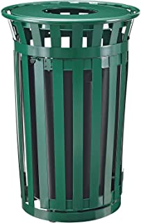36 Gallon Outdoor Metal Slatted Receptacle w/Access Door & Flat Lid, Green