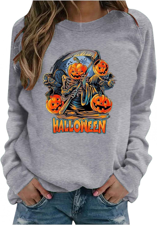 Halloween Sweatshirts for Women Skeleton Pumpkin Printed Pullove lowest Indianapolis Mall price