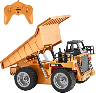 GotechoD Remote Control Trucks RC Dump Truck 1/18 6CH Remote Control Dump Truck RC Construction Vehicles 2.4G Alloy Metal RC Trucks Boys Toys Car for 6-15 Years Old Kids Boys