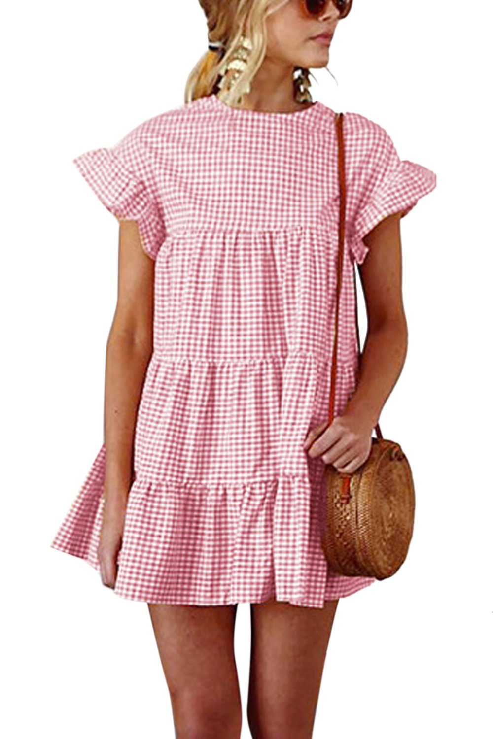 Available at Amazon: Women Summer Casual Dress Bell Sleeve Plaid Mini Party Dresses