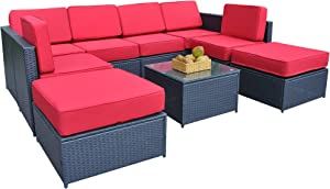MCombo Patio Black Wicker Sofa Sectional Rattan Sofa Chair Furniture Set With Red 5.12 Inch Cushion 6085-1009RD