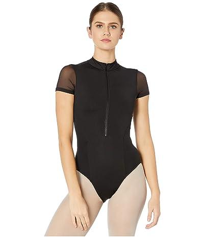 Bloch Zip Front Cap Sleeve Leotard (Black) Women