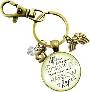 Rainbow Baby Jewelry Keychain After the Storm Comes Hope Pregnancy After Baby Loss Mom Keepsake Gift Feet Charm