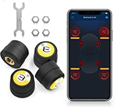 Tire Pressure Monitoring System,Car Bluetooth 4.0 TPMS Monitor Alarm System Andriod iOS Tire Pressure with 4 External Cap Sensors