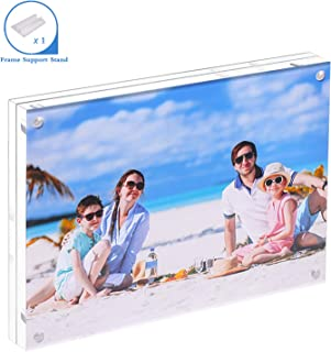 JUOIFIP Acrylic 8 X 10 Photo Frame Clear Floating Double Sided Magnetic Picture Certificate Document Magnetic Photo Frame for Tabletop Display with Frame Stand and Gift Box (Free Soft Microfiber)
