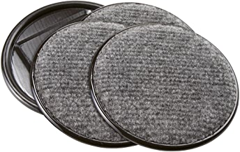 SoftTouch 4291195N Furniture Caster Cups Round with Carpeted Bottom for Hard Floor Surfaces (4 Piece), 4 Inch, Gray