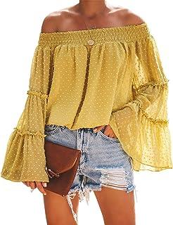 MOSHENGQI Women's Off Shoulder Tops Bell Sleeve Blouse Button Down Summer Casual Shirt