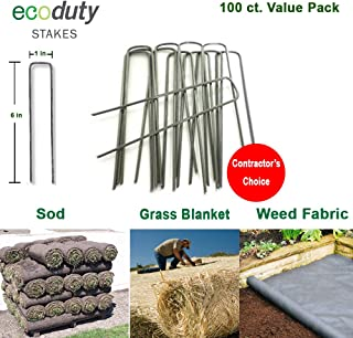 Ecoduty Contractor Grade Solid Steel 6 inch 11-Gauge Sod Staples - Metal Garden Stakes for Landscape Fabric, Weed Barrier, Seed Blanket, drip line, Lighting Contractor's Choice (100 Pack) (100)
