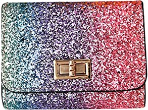 Homemaple Multicolor Metal Sequins Small Wallet PU Leather Patchwork Hasp Mini Wallet for Women and Purses Money Wallet Card Bag Coins Bag (Cross buckle)