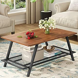 Tribesigns Rustic Industrial Coffee Table with Open Metal Mesh Storage Shelf for Home Office, Wood Look Accent Furniture with Metal Frame, Easy Assembly