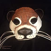 Otter Mask, Sea Otter, Paper Animal Masquerade Mask - Cosplay for adult, or kids - Handmade handpainted fantasy paper mache props