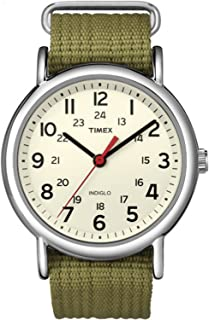 Timex Unisex Weekender Slip Through Nylon Strap Watch Cream/Silver/Olive