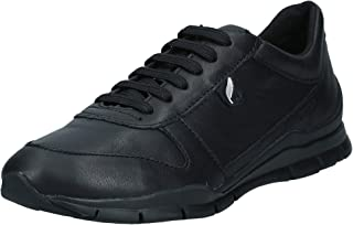 GEOX D Sukie A Womens Leather Trainers/Shoes - Black