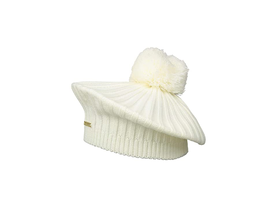1920s Hat Styles for Women- History Beyond the Cloche Hat MICHAEL Michael Kors Rib Beret w Pom CreamGold Berets $38.00 AT vintagedancer.com
