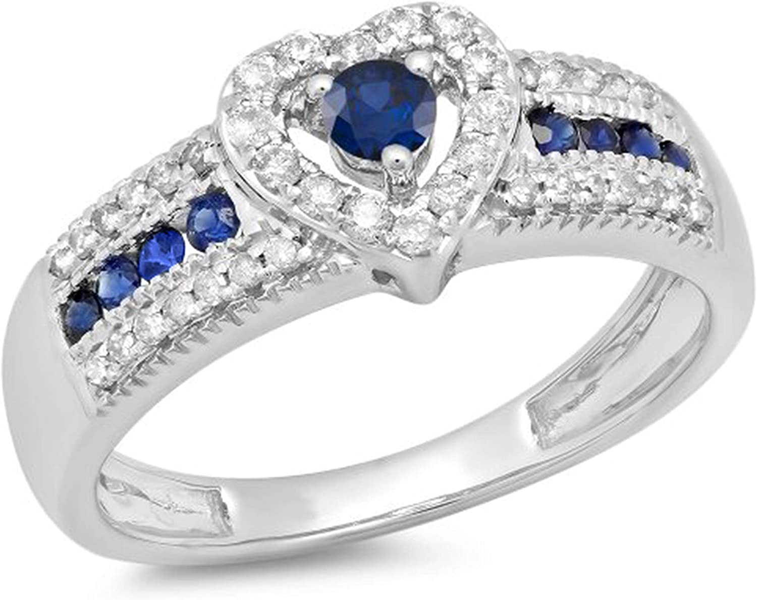 Dazzlingrock Collection 10K Gold Round Cut Blue Sapphire & White Diamond Ladies Bridal Heart Shaped Promise Engagement Ring
