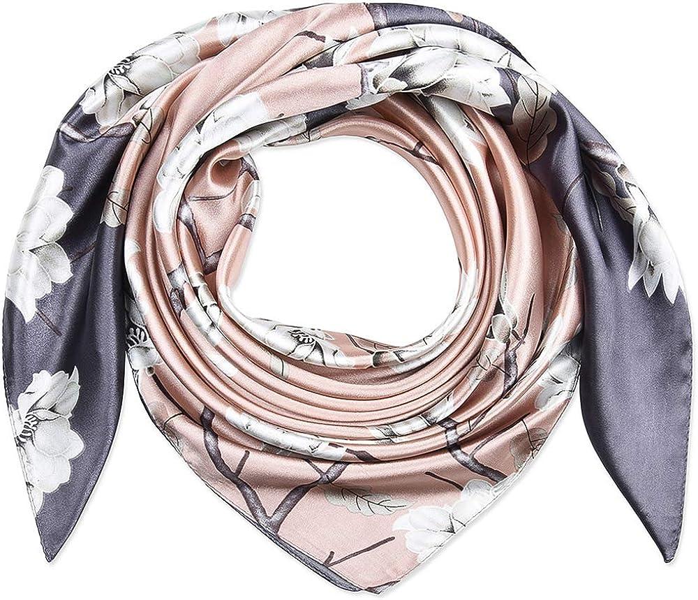 Corciova Grey Square Stain Silk Like Head Scarf Hair Wrap Scarves Night Sleeping