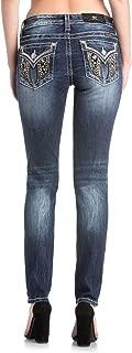 Miss Me Womens Velvet Wing Skinny Jeans in Denim Blue