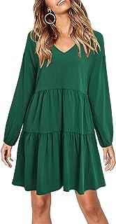 Women's Casual Dress V-Neck Lantern Sleeve Ruffle Shift...