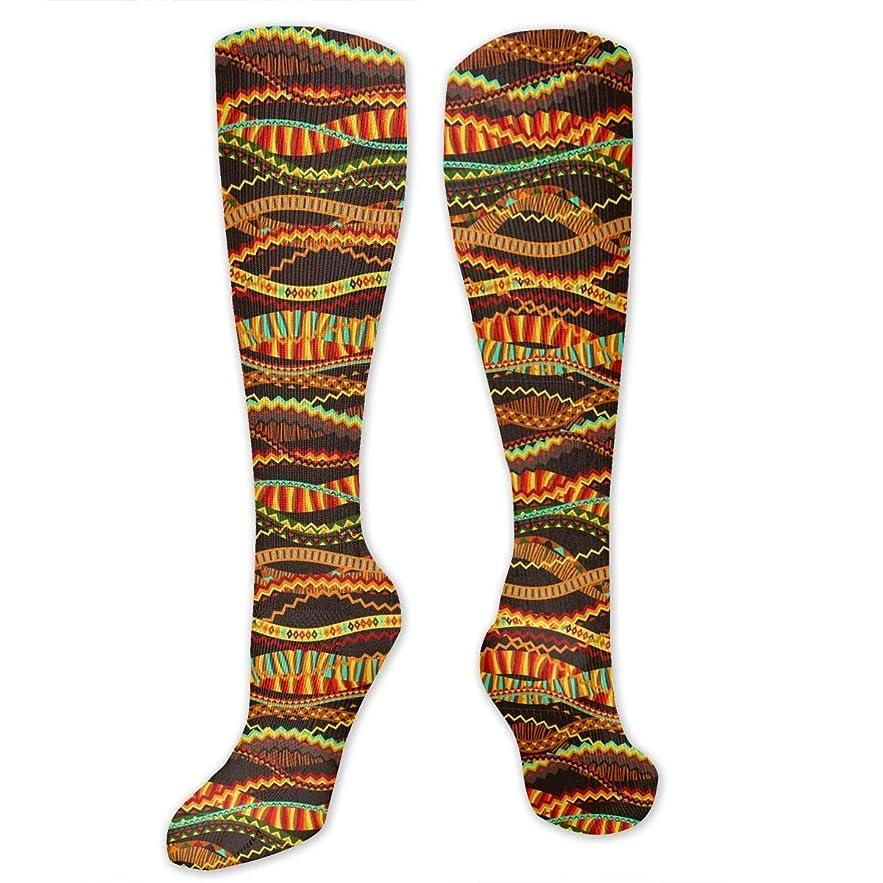 トラフ予防接種貧困靴下,ストッキング,野生のジョーカー,実際,秋の本質,冬必須,サマーウェア&RBXAA Orange Jagged Stripe - Waves Socks Women's Winter Cotton Long Tube Socks Knee High Graduated Compression Socks