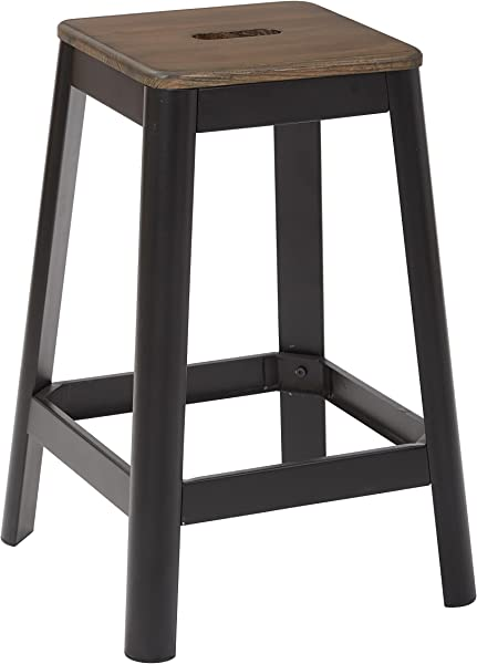 OSP Designs Hammond 26 Metal Barstool With Darkwood Seat Frosted Black Frame Finish KD